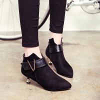 尖头小高跟短靴格子百搭气质高跟鞋新款细跟短靴裸靴潮中高跟女靴