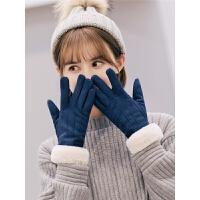 手套女冬可爱触屏韩版卡通学生麂皮绒保暖加绒加厚防寒骑开车手套