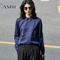 Amii2017秋通勤个性涂鸦印花翻领长袖大码衬衫11770442