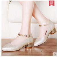 雅诗莱雅尖头单鞋女新款中跟浅口女鞋百搭四季鞋粗跟高跟鞋秋鞋子女夏aiys8484