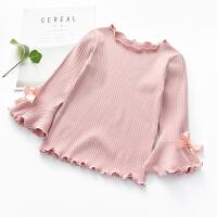 女童打底衫2018春装新款韩版木耳边纯色棉上衣中小童长袖宝宝T恤