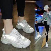 夜光女鞋休闲鞋女学生春季新品老爹鞋女韩版透气原宿荧光学生运动跑步鞋潮
