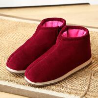 棉拖鞋女包跟厚底手工老年老人棉鞋保暖月子鞋室内毛绒拖鞋冬