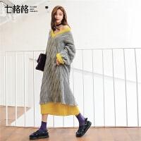 七格格V领连衣裙女冬季2018新款韩版宽松时尚假两件中长款针织裙