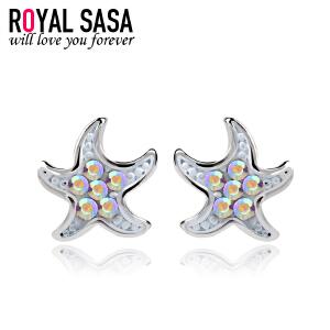 皇家莎莎S925银耳钉女气质百搭小海星耳环耳坠韩版潮流时尚耳饰品