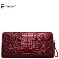 朱尔牛皮女士钱包2017新款鳄鱼纹手拿包时尚气质长款钱包女