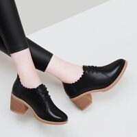 韩版女士粗跟黑色皮鞋2019春秋季新款高跟单鞋女百搭学生中跟女鞋