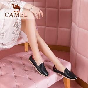 Camel/骆驼女鞋 2018春季新品 舒适休闲撞色条纹低跟套脚单鞋潮