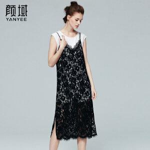 颜域品牌女装2017夏季新款时尚吊带两件套装镂空勾花蕾丝连衣裙