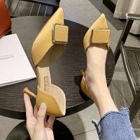 高跟鞋女2019春季新款尖头细跟韩版百搭性感水钻中空单鞋工作高跟