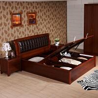 御品工匠 中式实木床 1.2米单人床1.5米1.8米双人床 软靠储物高箱床0116