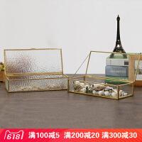 简约复古金边几何玻璃首饰盒欧式珠宝饰物多功能收纳盒婚礼伴手礼