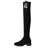 长靴女过膝2018秋冬季新款粗跟黑色显瘦弹力性感平底高筒长筒靴子 黑色