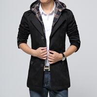 新款秋冬连帽男风衣长袖可拆卸连帽外套休闲时尚商务风衣夹克