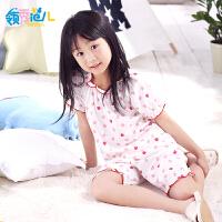 领秀范儿儿童睡衣女夏纯棉短袖女童卡通薄款女孩中大童宝宝睡衣家居服套装