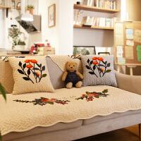 美式复古田园立体绣花沙发垫棉布艺组合沙发巾简约现代沙发套罩