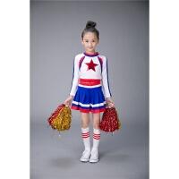 新款儿童啦啦操演出服少儿健美操学生体操运动会足球舞蹈表演服装 蓝色 女款长袖