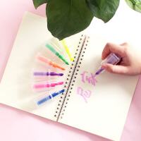 尼家 指甲油标注笔学生划重点记号笔办公文具荧光笔6支装手账涂鸦