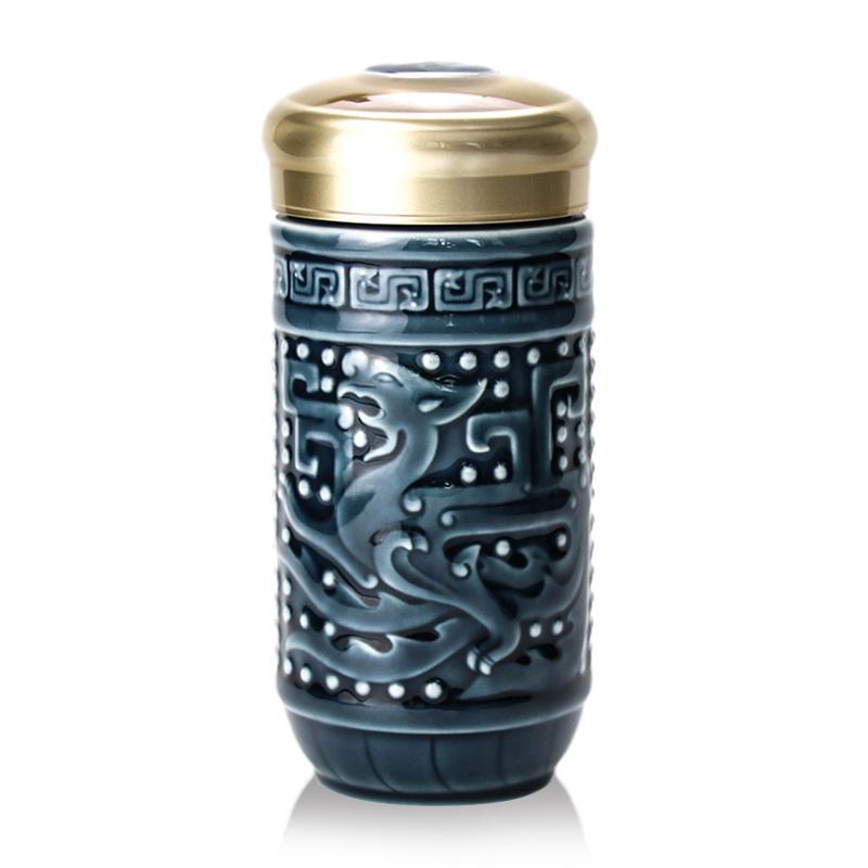 乾唐轩活瓷杯正品小龙凤单层随身杯330ml创意陶瓷便携茶水杯子男
