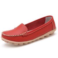 春秋真皮平底小白鞋女妈妈鞋大码女鞋豆豆鞋女护士鞋休闲孕妇单鞋