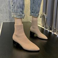 秋冬2019新款潮女短筒女靴子袜靴时尚绒面百搭中跟女靴舒适女潮鞋