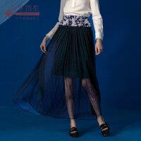 生活在左2018新款秋冬女气质复古中长款chic高腰半身裙