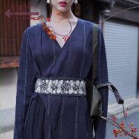 生活在左2019春夏季女装新品亚麻藏青色腰带女士休闲复古气质皮带