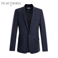 太平鸟男装 春季新款蓝色单排扣羊毛质感纯色商务西服B1BA7