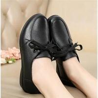 妈妈鞋中老年单鞋女春秋软底防滑平底女士皮鞋工作鞋大码女鞋 226黑色