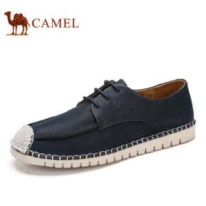 camel骆驼男鞋 新品 日常休闲潮流拼接牛皮低帮鞋舒适男鞋