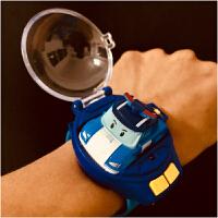 抖音社会人银辉警车珀利安巴表带遥控车手表电动儿童玩具汽车男孩 蓝色 官方标配