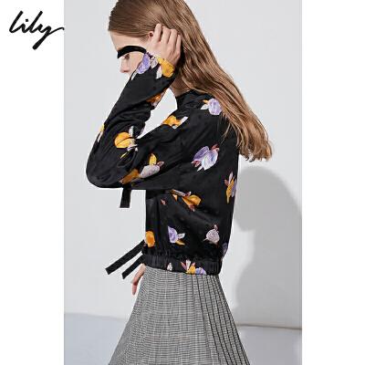 Lily春新款女装短款印花飘带上衣宽松黑色雪纺衫118410C8510