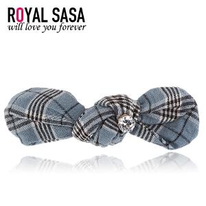 皇家莎莎RoyalSaSa饰品发饰韩国发卡发夹韩版布艺复古格子头饰顶夹弹簧夹