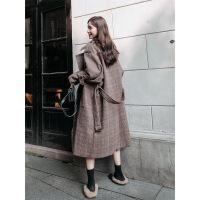 2018秋冬新款流行格子呢子大衣女韩版加厚过膝学生赫本风毛呢外套 咖啡色 XS