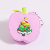 便携迷你零钱包硬币包新款可爱卡通零钱包硅胶 创意苹果圣诞零钱包 钥匙包
