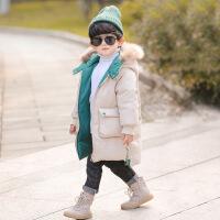 №【2019新款】冬天�和�穿的男童棉衣冬�b加厚外套����中�L款棉�\小�和�羽�q