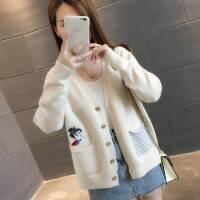 毛衣开衫外套女士宽松学生2019春秋季外搭短款长袖针织衫上衣 S (建议80-95斤)