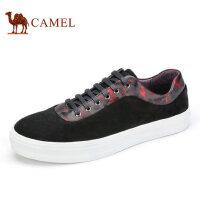 camel 骆驼男鞋时尚休闲复古印花反绒牛皮板鞋平跟低帮男