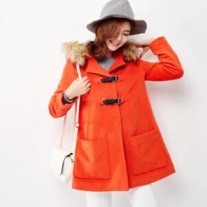 【2件3折价239.7元】唐狮冬装新款外套女连帽中长款仿呢大衣宽松显瘦韩版