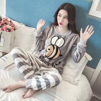 珊瑚绒睡衣女冬季卡通韩版学生甜美可爱蜜蜂秋季法兰绒家居服清新 蜜蜂绒(灰色)