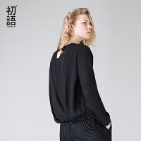 初语2017秋季新款雪纺衫圆领开叉后背长袖雪纺上衣纯色套头女装潮