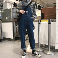 cec裤子女春季2019新款韩版网红高腰牛仔裤百搭显瘦背带裤九分裤