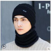 户外套头毛线帽纯色韩版字母贴标针织棉帽子男士帽子骑车防寒保暖