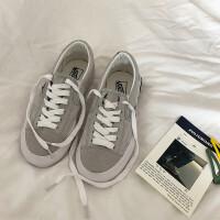 秋冬街拍ins简约韩版一脚蹬系带休闲百搭帆布鞋学生板鞋女 灰色