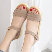 夏季新款坡跟百搭凉鞋一字扣平底女鞋韩版中跟鞋松糕厚底鞋子