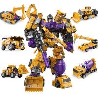 儿童玩具变形工程车大力金刚系列机器人模型六合一套装玩具 满月周岁生日礼物六一圣诞节新年礼品