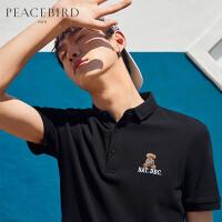 太平鸟男装 夏季新款黑色刺绣POLO衫小熊图案翻领T恤潮男短袖保罗
