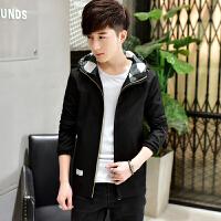 新款连帽外套男士秋季青年韩版运动夹克男装春秋薄款休闲衣服