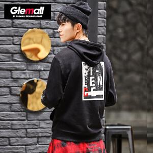 森马潮牌GLEMALL 男士连帽卫衣纯棉加厚套头衫后背撞色印花个性兜帽衫