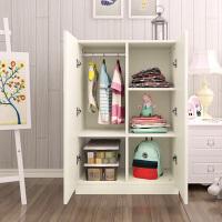 儿童小孩小型衣柜 木质质学生简易组装2门 板式衣橱 A款暖白色(40深) 120*80*40 2门 组装
